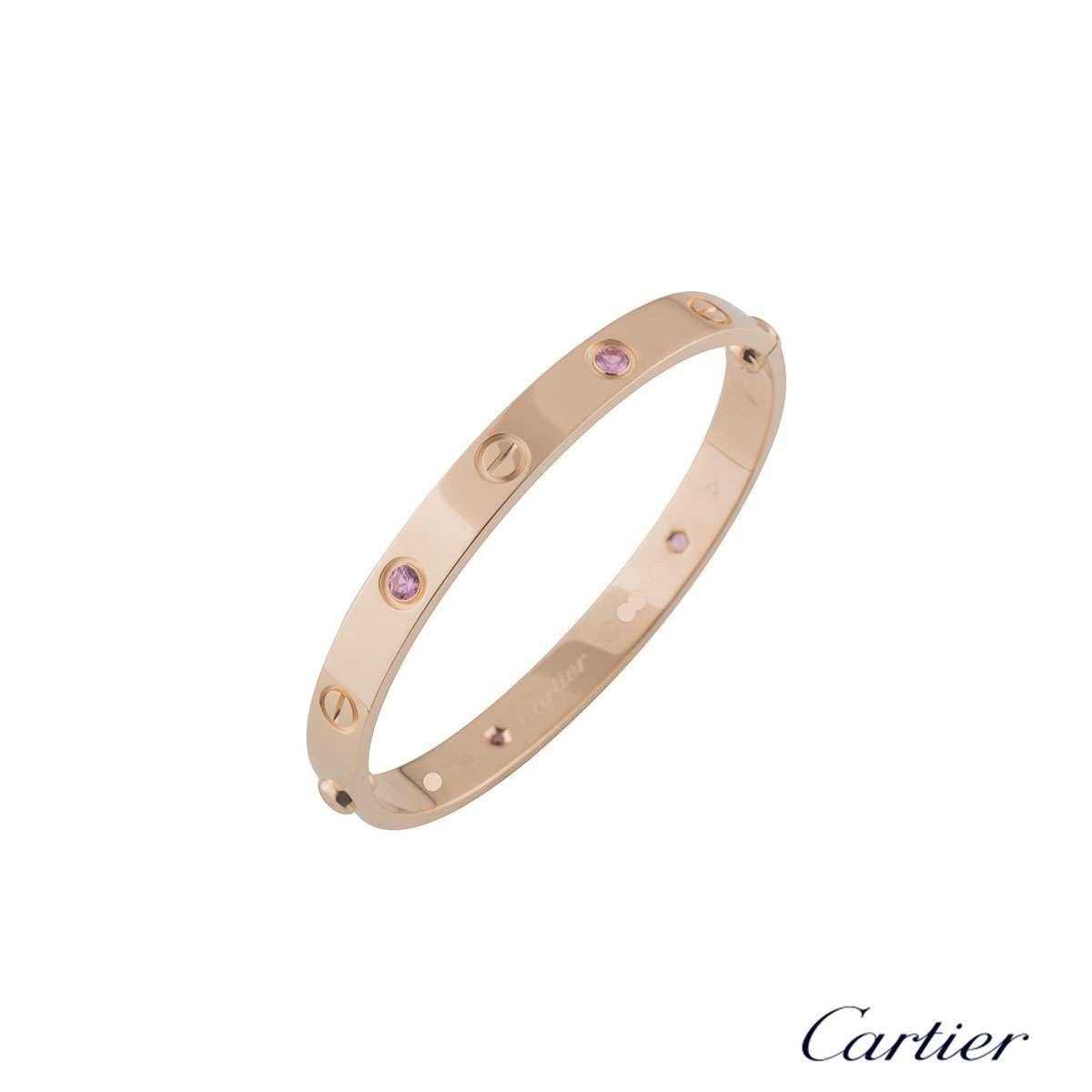 Cartier Rose Gold Pink Sapphire Love Bracelet Size 16 B60311116